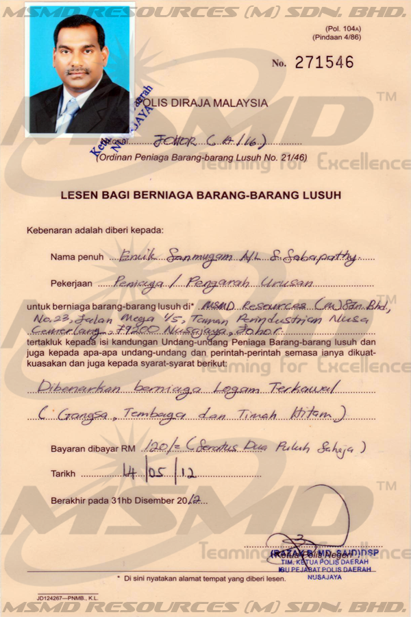 Trade License Malaysia Scrap Goods Trading License