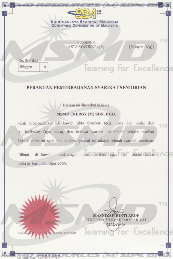 R.O.C. of MSMD Energy (M) Sdn. Bhd., Click Here to View in Larger Format